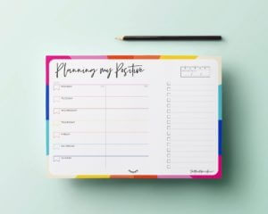 My Positive Week Desk Pad Planner. Part of The Positive Planner Self-Care Gift Guide for Christmas 2020