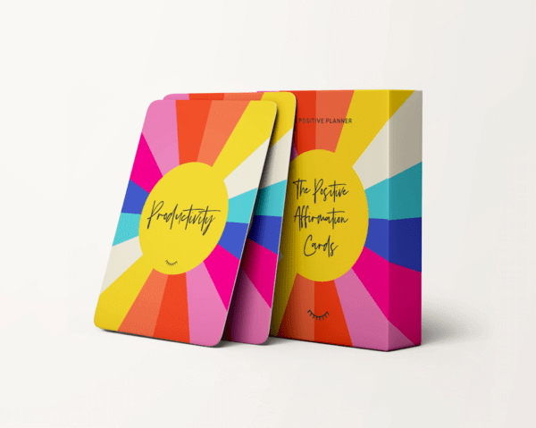 The brightly coloured box and affirmation cards of The Positive Planner Affirmation Cards