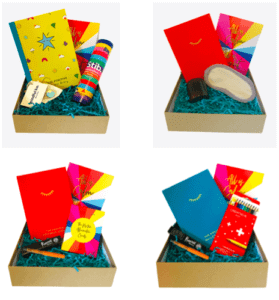 The 4 exclusive and limited edition Positive Gift Boxes available in The Positive Planner Self-Care Gift Guide for Christmas 2020. The Positive Doodler's Box, The Ritual Box, The Positive Affirmation Box and The Stationery Lover's Box