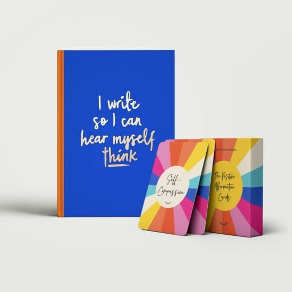 The Free Writing Pack consisting of the vivid blue Positive Free Writing Journal and bright and colourful Positive Affirmation Cards