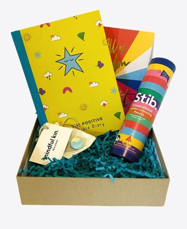 The Positive Doodler's Box with The Positive Doodle Diary, The Stib Jumbo Positive Pencils, The Mindful Kin Worry Stone and The Positive Planner Christmas Card