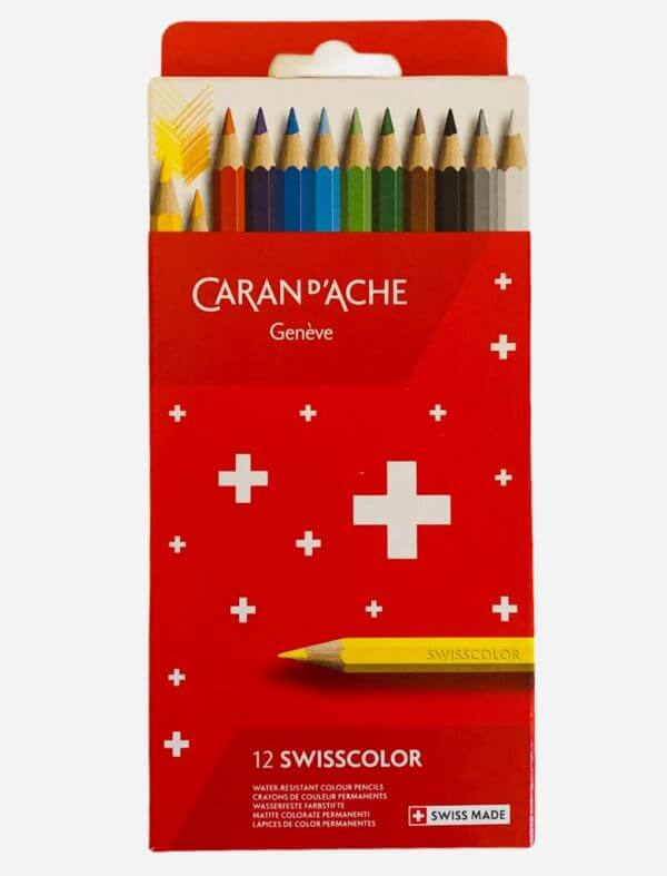 Pack of 12 Caran Dache Swisscolor Pencils in a red box