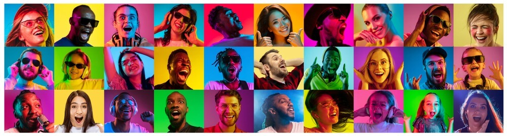 Beautiful,Male,And,Female,Portrait,On,Multicolored,Neon,Light,Backgroud.
