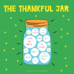 A graphic of The Thankful Jar - a jar filled with text bubbles of things to be grateful for