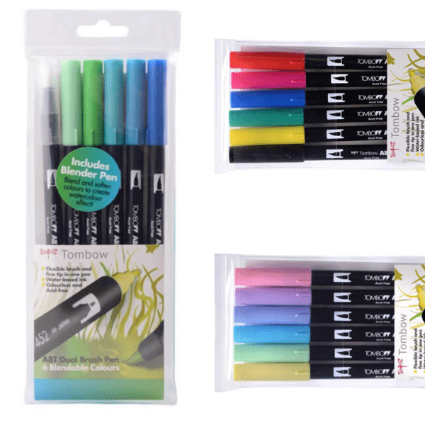Tombow Dual Brush Pens in ocean, pastel and primary colours