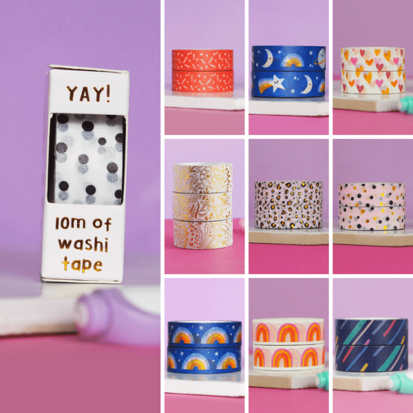 a grid showing our selection of 10 different designs of washi tapes from nutmeg and arlo