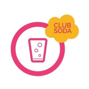 The Club Soda logo - a graphic using pink outlines of a glass with bubbles in it inside of a pink circle with the name club soda in a yellow cloud