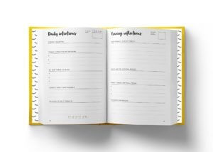 An open page of The Positive Planner showing the morning pages and evening reflections. This beginner's guide to the positive planner guides you on how to use them